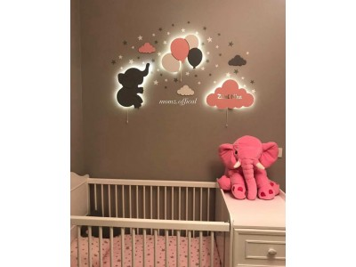 Elephant Balloons+Cloud Wall Lights (Shipping İncluded)