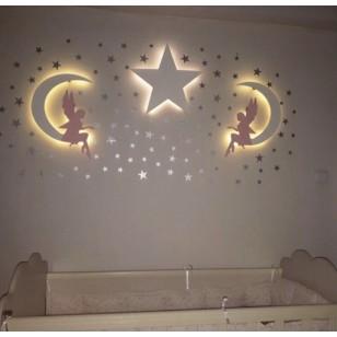3'lü Seçeceğiniz Ahşap Lamba Seti (50 Yıldız+3 Küçük Bulut Hediyeli)