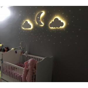 100 Adet Yıldız Sticker Hediyeli 3'lü Ahşap Aydınlatma Seti